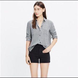 MADEWELL Oversized Boyshirt In Mini Gingham Check